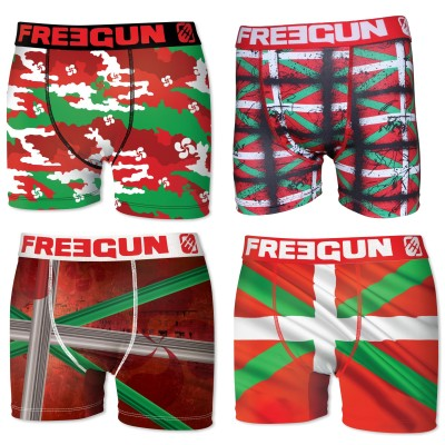 Freegun, Boxer homme pays basque - Lot de 4